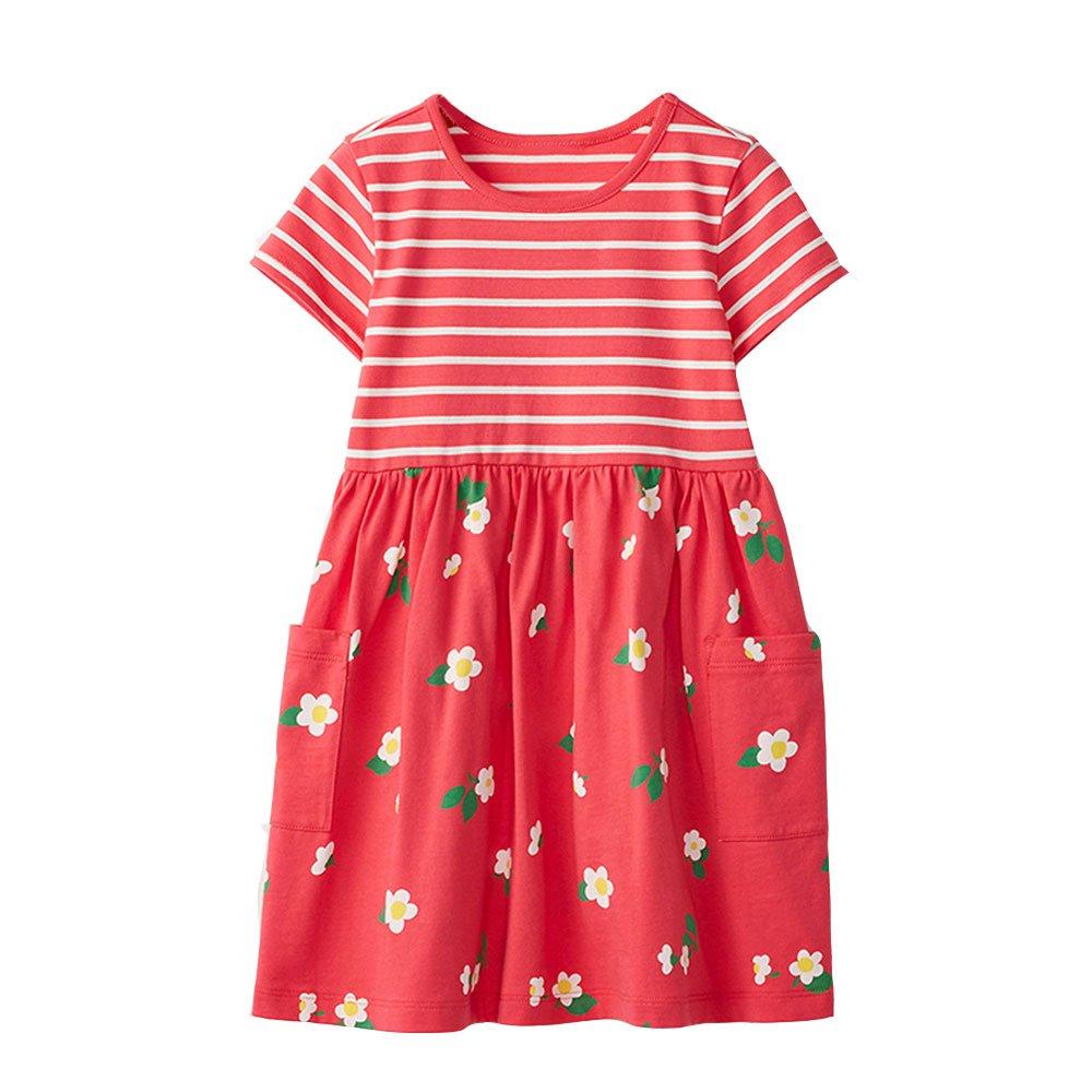 Vicky Piggy Little Girls Dress,Formal Dresses Summer Sleeve Cotton Casual Dress (18M, RF)