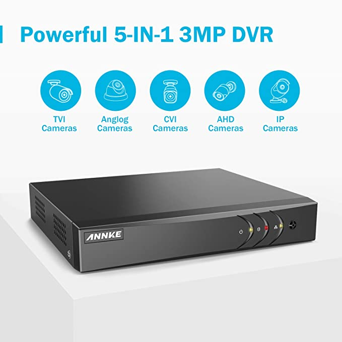 Amazon.com: ANNKE CCTV Sistema de Cámara 8 canales 3 MP 5 en ...