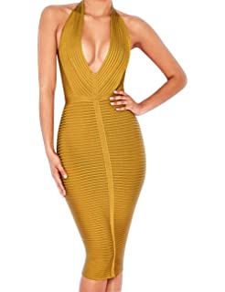 Beacher Zacharias Women s Bodycon Sexy Deep V Neck Halter Striped Evening  Party Club Midi Bandage Dress 75cfc5874