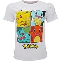 Pokémon – Camiseta original blanca con 4 personajes Pikachu oficial, camiseta para niño