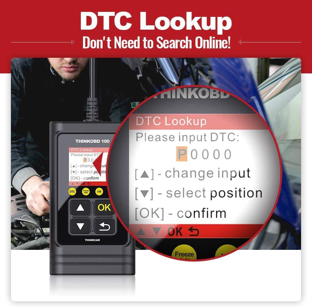 Supports Mode6 O2 Sensor and DTC Lookup Smog Test Full OBD2 Functions Check Engine Code Reader CAN Diagnostic Scan Tool Thinkobd 100 OBD2 Scanner Diagnostic Car Code Reader for Check Engine Light