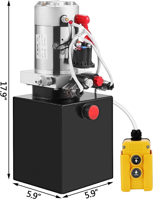 Mophorn 12V Hydraulic Pump Unit 4 Quart Steel,Double Acting