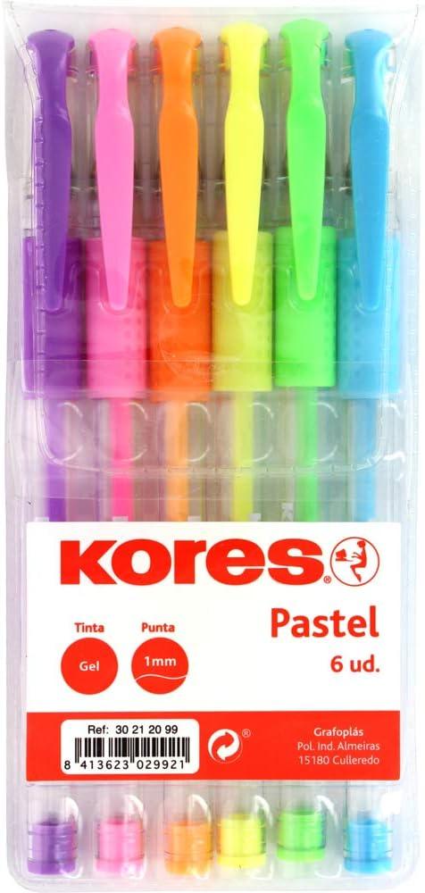 Grafoplás Blister 6 Unidades BOLÍGRAFO Tinta Gel Pastel KORES Azul Lila Rosa Naranja Amarillo Verde Punta 1MM