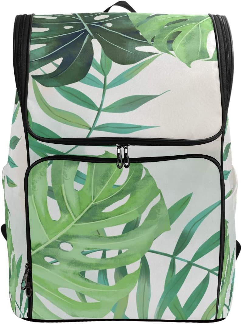 Tropical Palm Leaves Large Casual Daypack for Boys Girls in School College Backpack Laptop Fits 15.6Inches Computer for Students,Hiking Outdoor Travel Bags for Women Man