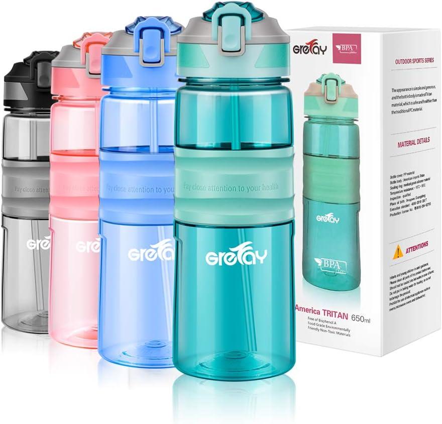 Grefay Botella de Agua Deportiva con Pajita 650ml 450ml Sin BPA Prueba de Fugas de Plástico Botella de Agua para Bicicleta Gimnasio Trotar Cámping