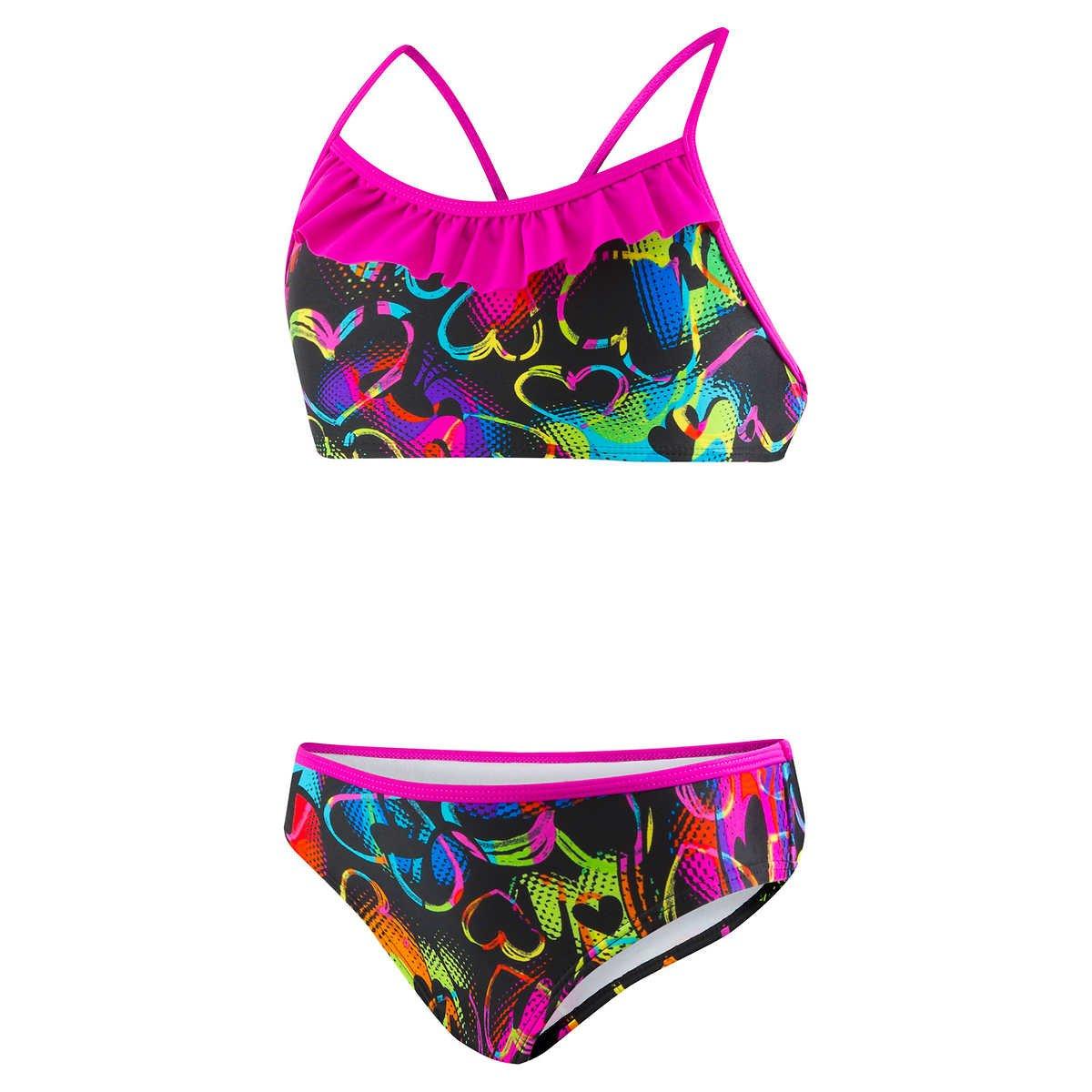 Speedo Girl/'s 2 Pc Racerback Swimsuit Hearts Black Neon Bikini Sz 6 thru 16