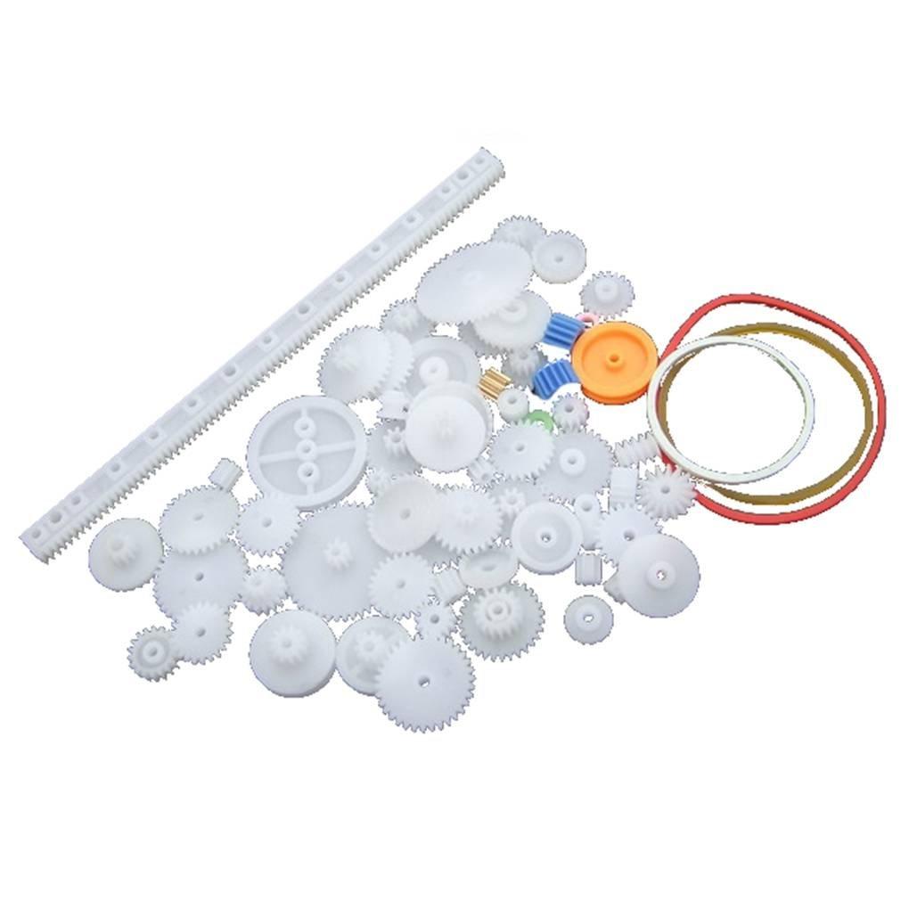 Engranaje de rodadura de plástico preparar varias clases de engranaje paquete de coches de juguete accesorios del motor del engranaje de gusano de bricolaje de eje de la correa bujes