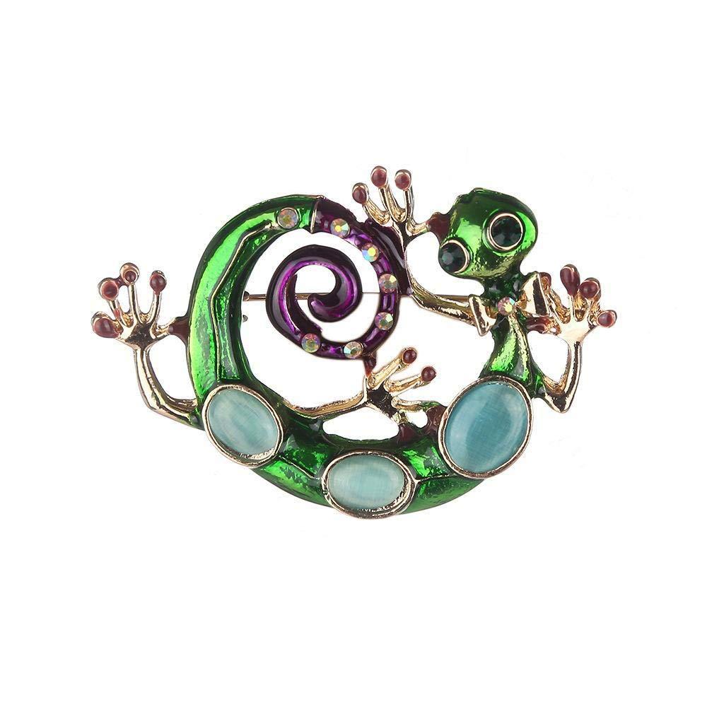 Hongge Broche Bijoux Automne de Lady Diamond lézard Broche d'Alliage et Serviette en Soie Hiver Boucle décorative en Alliage,Cadeau de Haute qualité