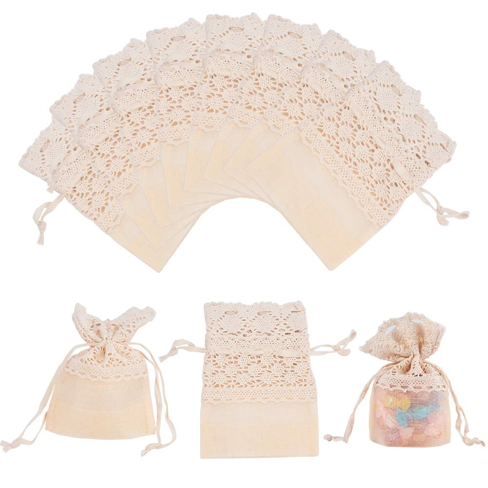 PH PandaHall 12PCS 3.5x5.5 Lace Organza Gift Bags with Drawstring Wedding Party Favor Jewelry Gift Bags Pouches (Navajo White)