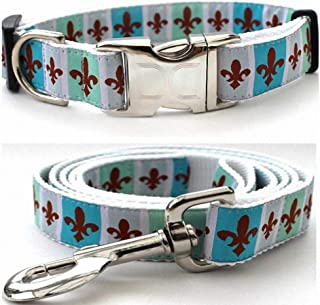 "product image for Diva-Dog 'French Quarter' Custom Small Dog 5/8"" Wide Dog Collar with Plain or Engraved Buckle, Matching Leash Available - Teacup, XS/S"