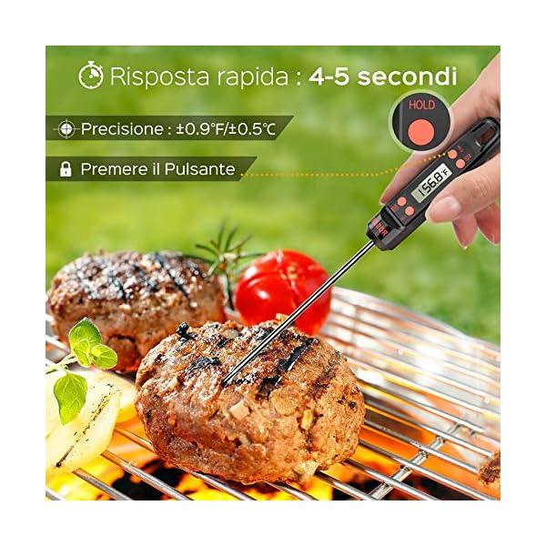 """Habor Termometro Cucina, 5S Lettura Istantanea, 5.5"""" Sonda Lunga, Termometro da Cucina Digitale per Carne Vino BBQ Latte Olio Alimenti Acqua del Bagno 5"""