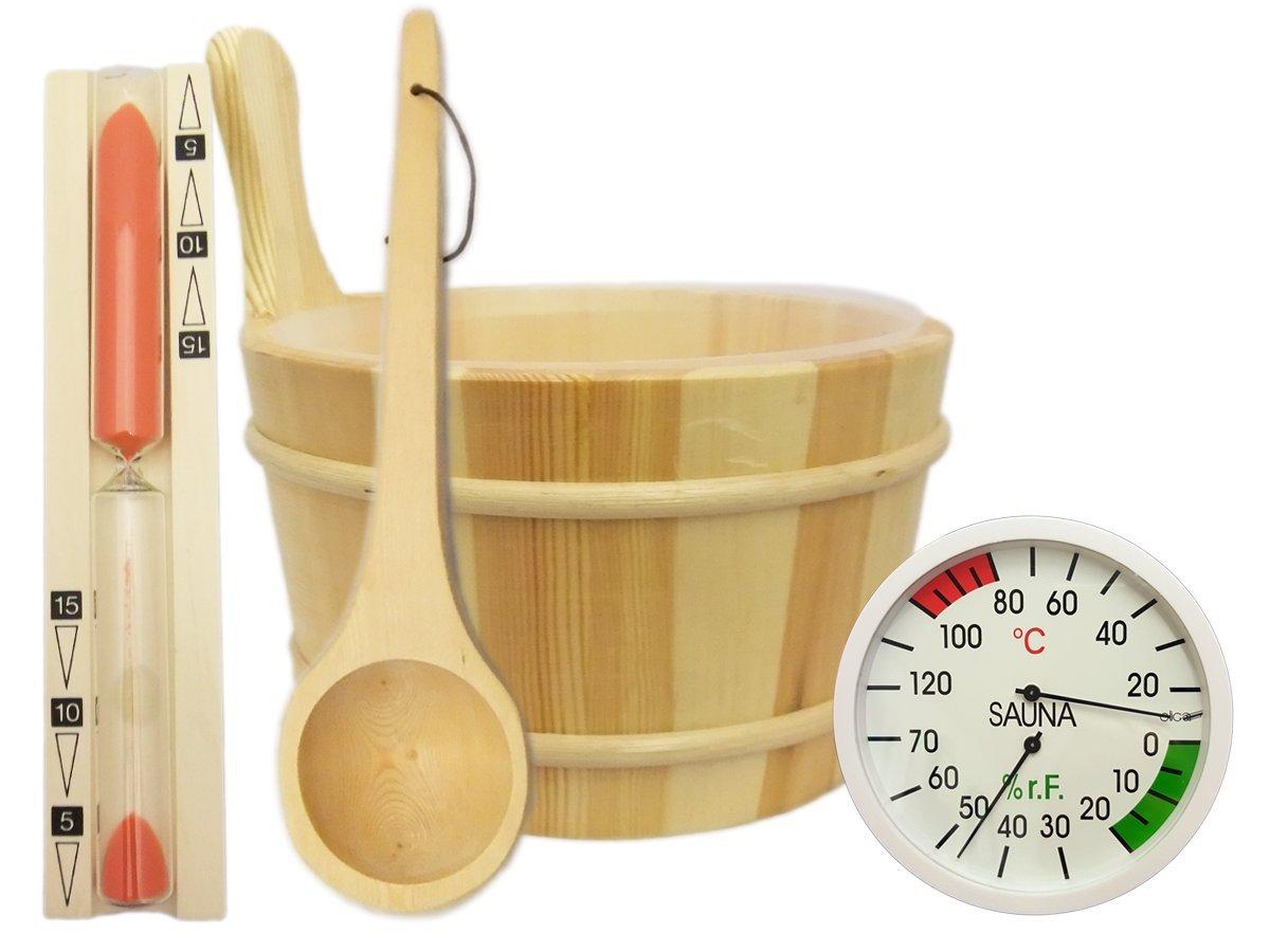 5-Piece Sauna Accessories Set - Sauna Bucket & Ladle, Sandglass Timer, Thermo-Hygrometer EB-Onlinehandel