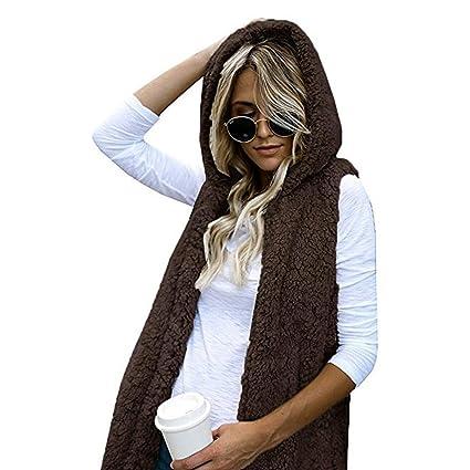b521c467381 Amazon.com: Womens Vest Winter Warm Hoodie Outwear Casual Coat Faux ...