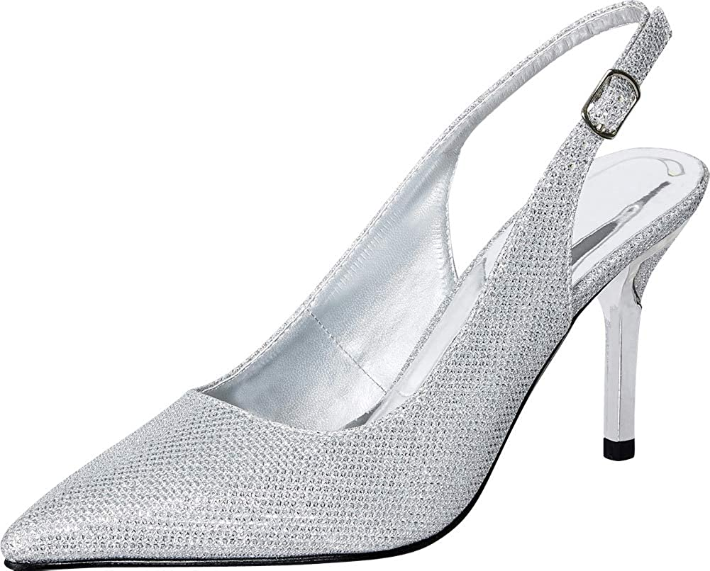 Silver Cambridge Select Women's Pointed Toe Slingback Stiletto High Heel Pump