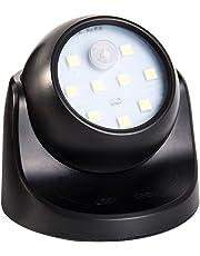 Oceanheart La noche del sensor de movimiento ligeras, detector cuerpo giratorio 360 ° punto de luz USB LED sin iluminación de seguridad nocturna lámpara (Negro)