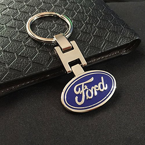 ESMPRO for Ford Blue Car Logo Keychain 3D H Metal Key Chain Keyring Double Side