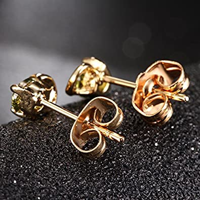 YAZILIND Exquisite Round Cubic Zirconia Earrings Hypoallergenic Gold Plated Ideal Gift for Women Girls