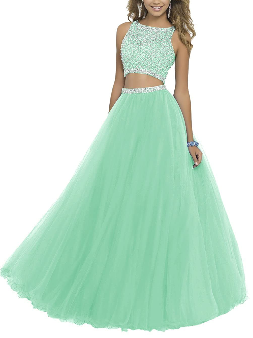 Mint SDRESS Women's Beaded Rhinestones Crewneck Aline 2 Pieces Tulle Prom Dress
