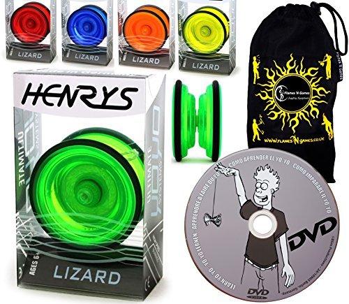 Henrys LIZARD YoYo - Professional Yo Yo Set + LEARN Yo-Yo Tricks DVD +Travel Bag! Pro YoYos For Kids & Adults. (Orange) by Henrys YoYo's