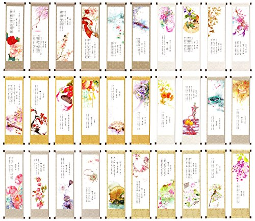 Chinese Scroll Painting Theme Colorful Bookmarks, 30PCS (Poetry Forever)
