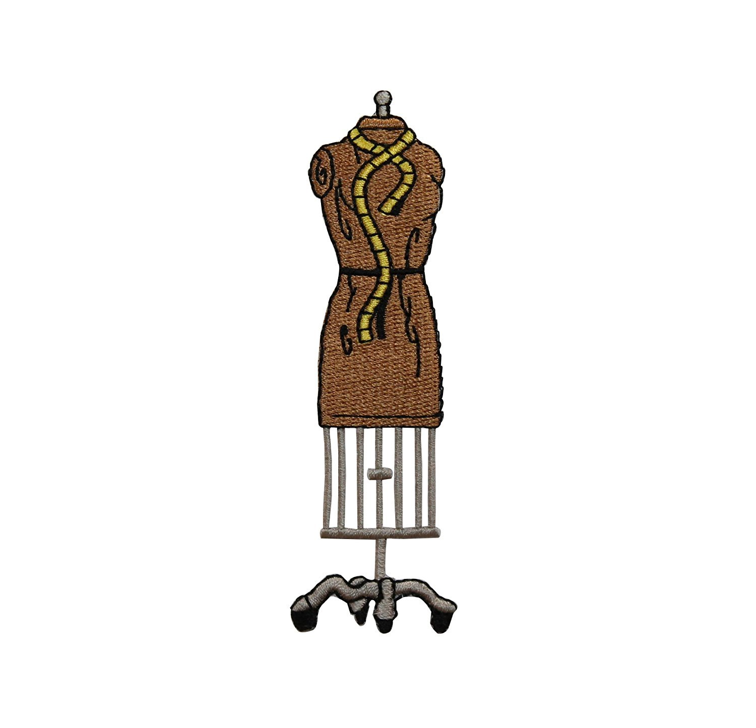 ID #7565 Brown Dress Form & Measuring Tape Iron On Embroidered Patch Applique by Cool-Patches   B00EMW84J6
