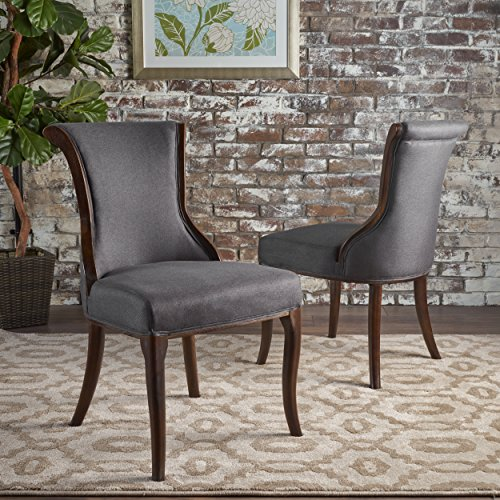 Christopher Knight Home 301828 Lexia Classic Dark Charcoal Fabric Dining Chair, Espresso