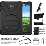 Galaxy Tab A 10.1 Case,Shock-Absorption/High Impact Resistant Heavy Duty Armor Case For Samsung Galaxy Tab A 10.1 Inch Tablet with S Pen SM-P580, W/ Hand strap shoulder belt (Black)