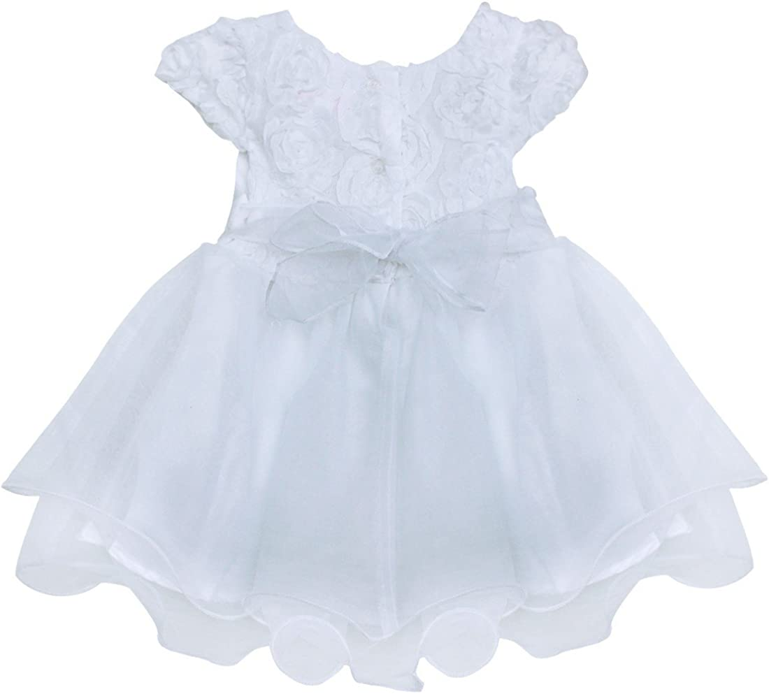 Freebily Infant Baby Girls Embroidered Wedding Flower Girl Dress Newborn Baptism Christening Gowns with Panty