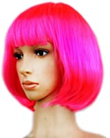 Dasbayla Cosplay Short Straight Bob Wigs with Bangs for Costume Ball Rave Party