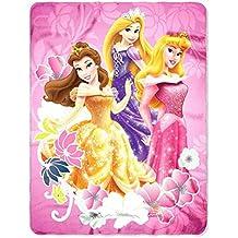 "Disney Princess New 2013 Fleece Blanket for Children (Princess Shining Flowers) 46"" X 60"