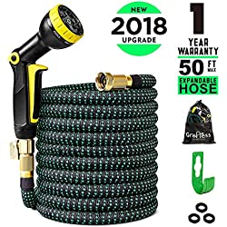 """Greness Garden Hose 50 ft,Lightweight Expandable Garden Water Hose with 3/4"""""""" Solid Brass Fittings,Durable Outdoor Gardening Flexible Hose for Yard,Expanding Garden Hoses 9 Function Spray Nozzle"""