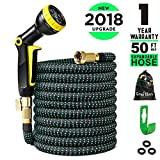 Greness Garden Hose 50 ft,Lightweight Expandable Garden Water Hose with 3/4'''' Solid Brass Fittings,Durable Outdoor Gardening Flexible Hose for Yard,Expanding Garden Hoses 9 Function Spray Nozzle