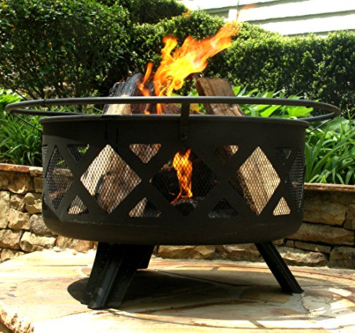 Black, metal-woven fire pit with grilling items included.