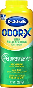 Dr. Scholl's Odor-x Sweat Absorbing Foot Powder, 7 Ounce (Pack of 1)
