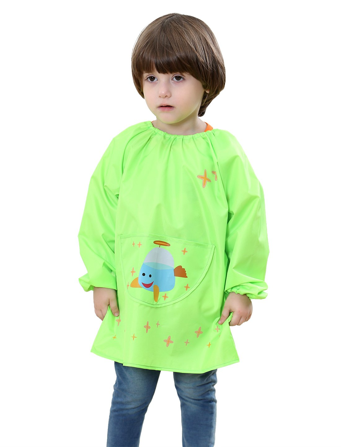 Kids Multifunctional Painting Smock Cute Aircraft Printing Childrens Polyester Waterproof Pullover Sleeve Bib Drawing Apron Green 2-4 T