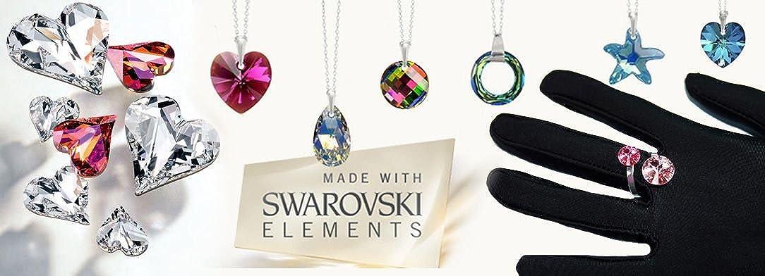 Crystals&Stones Parure di gioielli composta da orecchini e collana con cristalli Swarovski, in argento 925, con scatola regalo Lilac Shade