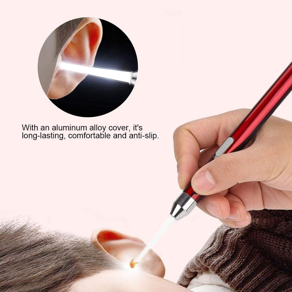 Rose Gold LED Flashlight Ear Pick Ear Wax Remover Cleaner Ear Care Tool Kit with USB Charging for Baby Kids Pets Baby Care