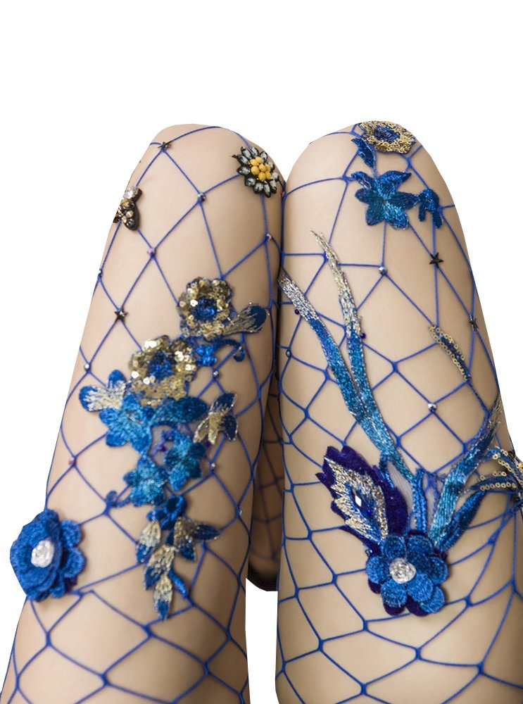 Women's High Waist Fishnet Stockings Sparkle Rhinestone Tights of MERYLURE (One Size, Blue Flower)