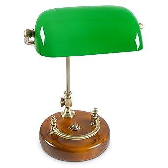 Relaxdays Bankerlampe Grün Mit Verziertem Holzfuß U2013 Retro Tischlampe Grüne  Schreibtischlampe Bibliotheksleuchte Banker Lampe Im 20er