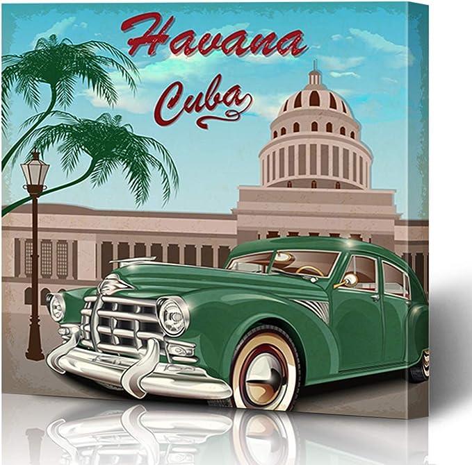 Vintage Cuba Havana Car  Art Deco Poster Art Painting