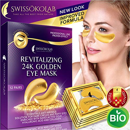 Eye Pads 24k Gold Eye Mask Anti-Aging Hyaluronic Acid Eye Patches Under Eye Mask for Moisturizing & Reducing Dark Circles Puffiness Wrinkles Eye Gel Pads from Puffy Eyes Collagen Eye Pads (Best Thing For Eye Wrinkles)