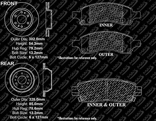 Front + Rear Rotors w//Ceramic Pads Geomet OE Brakes 2006 07 08 2009 Trailblazer