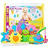 learning tub toys - Foam Bath Toys - Educational Toys for Toddlers - Fun Floating Geometric Shapes Puzzle(16pcs) - Early Learning Toy - Organizer For Bathtub Toys- Fishing Rod - Storage Bag for Bath Toys