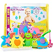Foam Bath Toys - Educational Toys for Toddlers - Fun Floating Geometric Shapes Puzzle(16pcs) - Early Learning Toy - Organizer For Bathtub Toys- Fishing Rod - Storage Bag for Bath Toys