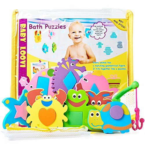 Foam Baby Toys (Foam Bath Toys - Educational Toys for Toddlers - Fun Floating Geometric Shapes Puzzle(16pcs) - Early Learning Toy - Organizer For Bathtub Toys- Fishing Rod - Storage Bag for Bath Toys)