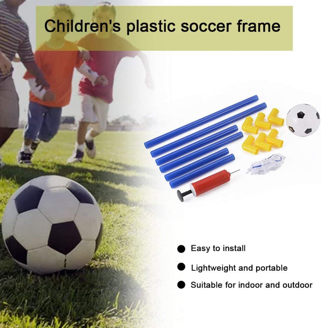 Kaemma Folding Mini Football Soccer Goal Post Net Set with Pump Kids Sport Indoor Outdoor Games Toys Child Birthday Gift Plastic Blue /& yellow