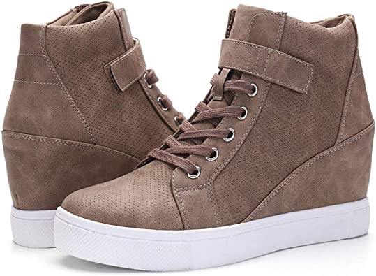 Womens Hidden Wedge Heels leather  Lace Up Casual Sneakers High Top Boots Shoes