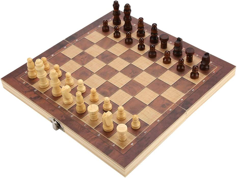 Weiyiroty Ajedrez Internacional de Madera ajedrez Plegado para Juego ajedrez Internacional Plegable f/ácil de almacenar
