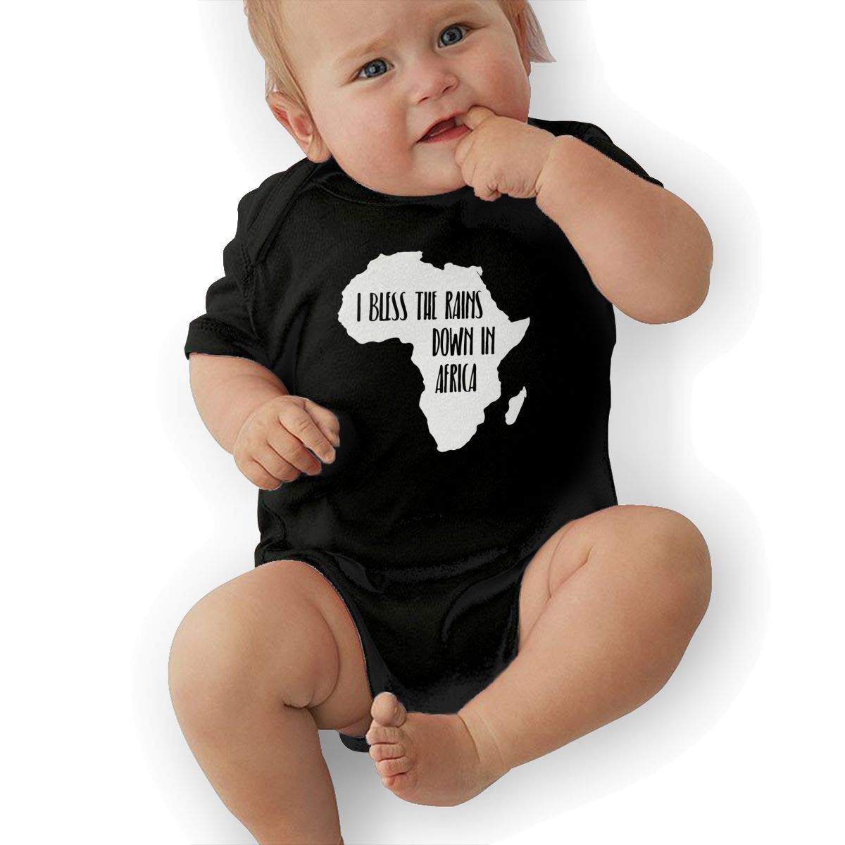 Cute I Bless The Rains Down in Africa-1 Jumpsuit Short Sleeve Cotton Rompers for Unisex Baby