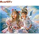 Vuage(TM) 番号図の絵画手で天使の女の子ウォールアートピクチャーDIYの絵画は子供のためのホームインテリアユニークなギフト塗装済み完成品 [40CMx50CM額装 ]